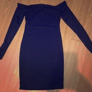 Black Choker Detail Bardot Bodycon Dress